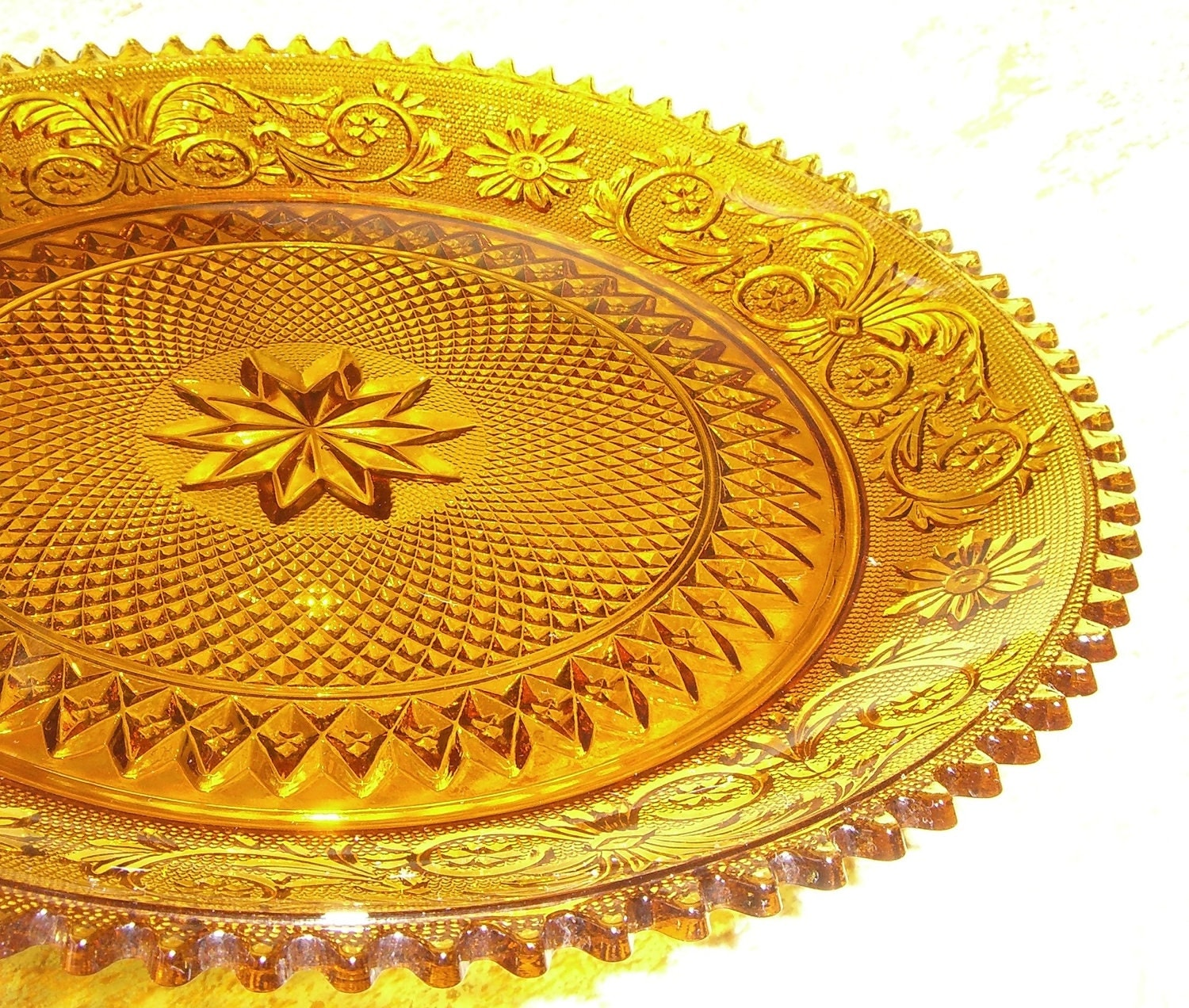 Vintage Platter Amber Glass Yellow Round Serving Platter