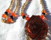 Autumn Fantasy Fashion Necklace- Orange black white and gold necklace- Nature Necklace- Fantasy Necklace- Fall Fashion Necklace