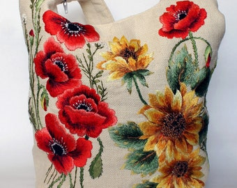 """Hand embroidered woman bag """"Sunflowers and poppies"""" white linen bag"""