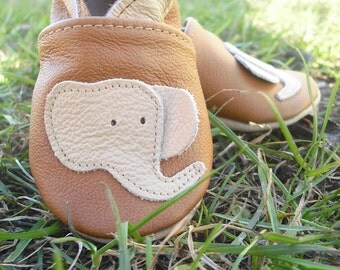 soft sole baby shoes infant handmade elephant beige brown 2 3 y Lederpuschen chaussons chaussurese garçon fille bebes ebooba  EL-28-BR-M-5