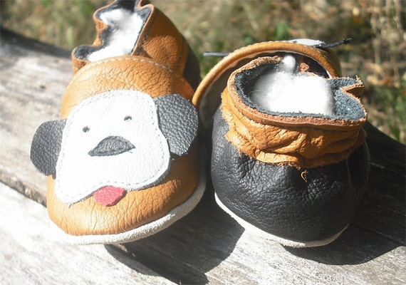 soft sole baby shoes infant handmade doggy brown  gray 12 18 m  ebooba 15-3