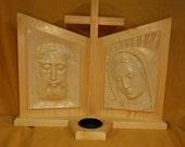 Veronikon Dyptich(two-fold image) on pine pedestal