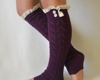 BS5365- Knit lace purple leg warmer with lace trim and buttons chunky leg warmers lace leg warmers boot socks boot cuffs christmas gifts