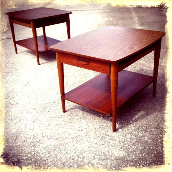 Lane Coffee Table With Drawers: Mid Century Modern Lane Altavista Walnut End Tables With