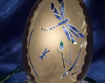 Carved Goose Egg: Dragonfly