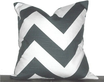 "18"" Chevron Zig Zag Pillow- 18 x 18 Inch Chevron Pillow Cover - Charcoal Grey and White"