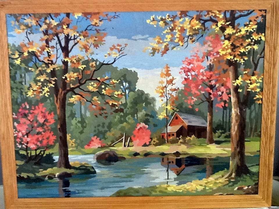 Vintage Framed Paint By Number Fall Scene With Red Cabin On