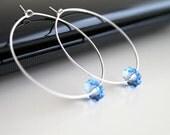Silver hoop earrings, Swarovski flower earrings, simple everyday jewelry