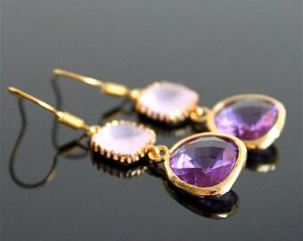 Frosted pink violet crystal earrings, pink opal amethyst glass earrings,  long dangle earrings, bridesmaid gifts. Wedding jewelry.