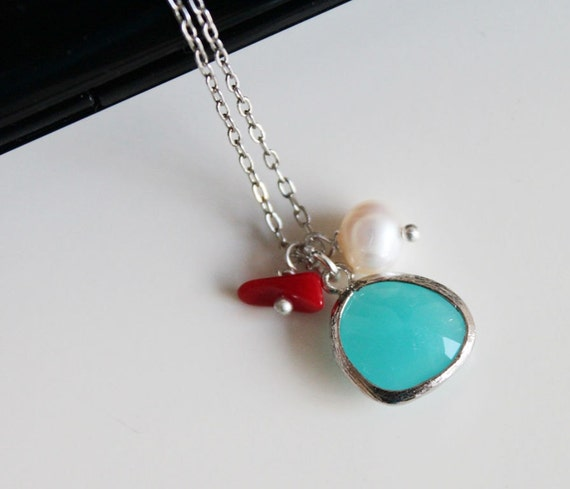 Seafoam glass pendant necklace, pearl necklace, natural red coral necklace, hot summer trend, simple everyday jewelry