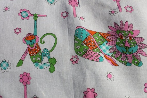 Vintage kids cotton fabric by the yard monkeys by for Vintage childrens fabric by the yard