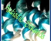 Blue / Turquoise / White Tips / Ombre Hair Extensions / 16 Inch Long / Real Remy Hair / (8) Piece Set / Dip Dyed