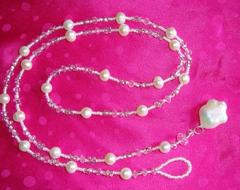 Freshwater Pearl and Crystal Lariat (Item L2)