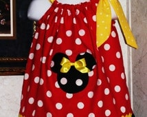 Custom handmade minnie mouse red white polka dot black white polka dot yellow white polka dot pillowcase dress 3mos up to 6y