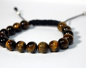 Spring Sale 40% Off - Mens Macrame Tiger's Eye Bracelet