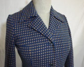 VTG 1960's Cobalt Blue Wool Coat With Mustard Geometric Pattern
