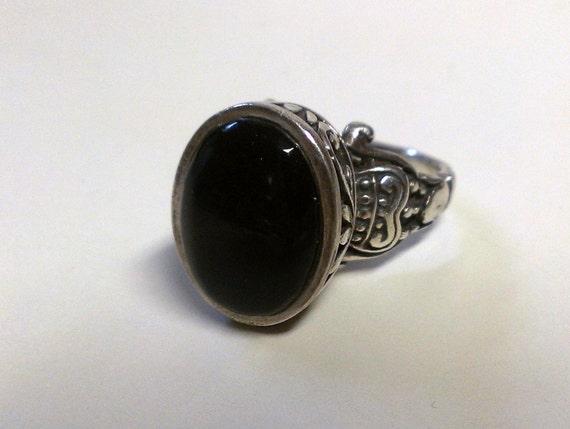 Designer Black Onyx Ring Modernist Sterling Silver Size 6