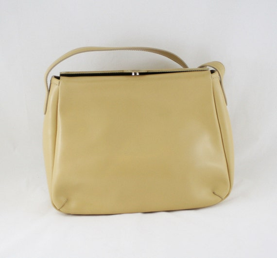 French Vintage Cream Leather Bag // Lamarthe