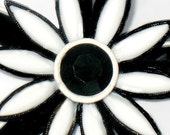 Mod 1960s Flower Power Brooch Black White Glass  Vintage Collectable Hippie Mod Jewelry Pin Black White Flower Power 60s Mod Jewelry