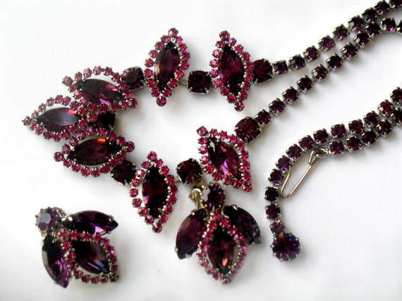 Rare Vintage Weiss Victorian Rhinestone Necklace and Earring Set Pink and Purple Faceted Signed RESERVED SALE PENDING