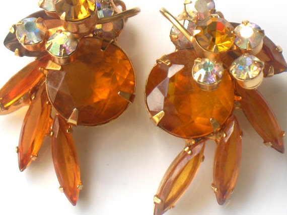 JULIANA Yellow Earrings Rhinestone Amber Aurora Borealis Delizza and Elster Gold Clip On Vintage High Fashion Collectable Jewelry