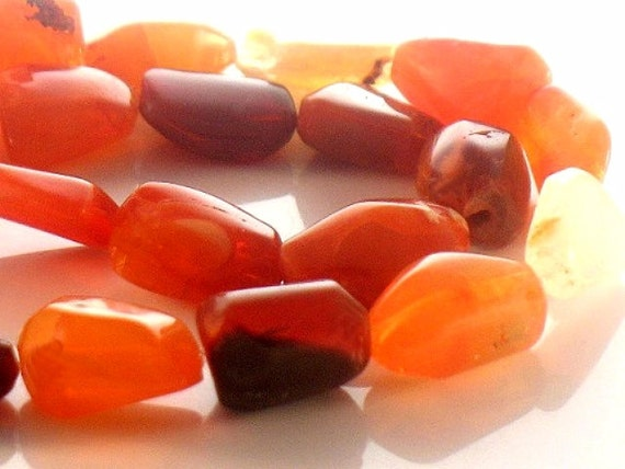 Natural Mexican Fire Opal Polished Beads Orange Yellow Red Clear Rustic Beauty