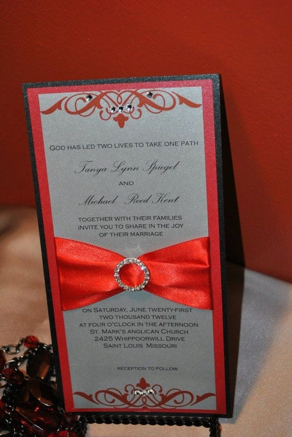 Red Silver And Black Wedding Invitation Flat Card With