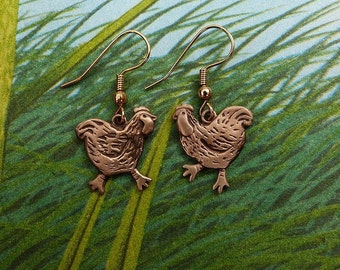 Bronze Chicken Earrings
