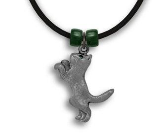 Enamel Grey Cat Necklace