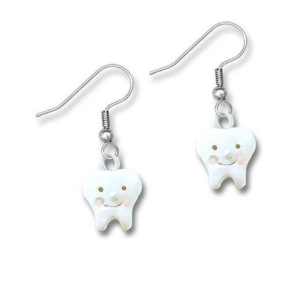 enamel smiling tooth earrings