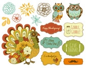 Thanksgiving Clip Art, turkey, fall clipart, Owls Clipart, digital frames - scrapbooking, invitations, Personal and Small Commercial Use.