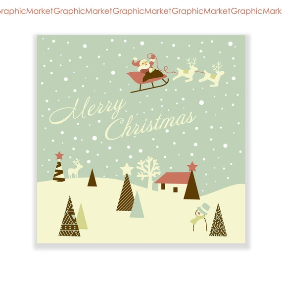 Items similar to 2 christmas hand drawn cards digital collage printable retro vintage style for Free digital christmas cards