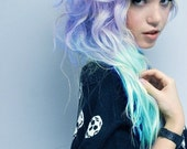 """20""""Ombre Hair,Tie dye Hair, Burning Man, Hair Extensions, Steel Lavender and Icy Blue Green"""