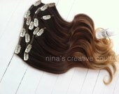 """Ombre Hair Extensions,Custom Listing, Dark Espresso, Ombre Fade, Dark Brown slow fade to caramel and toffee, 18"""", Custom Your Color"""