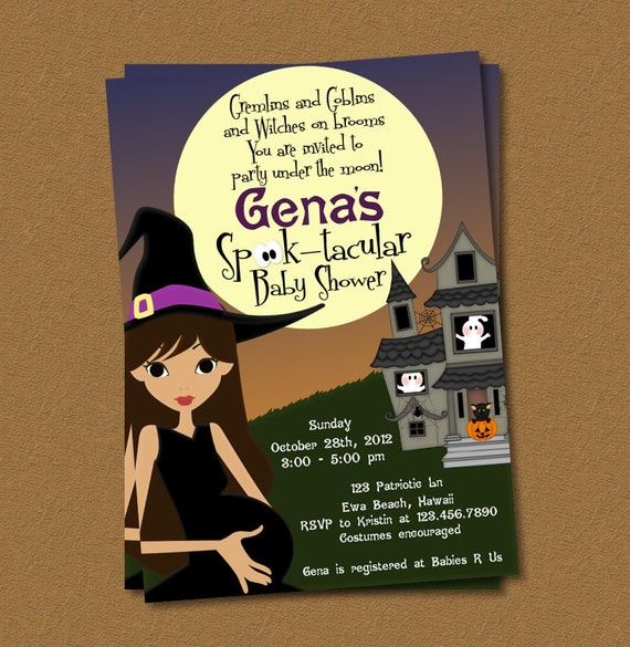 Halloween Baby Shower Printable Invitation by SuperMomsDesigns