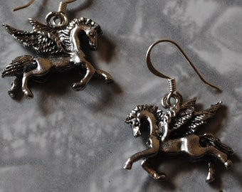 silver pegasus earrings