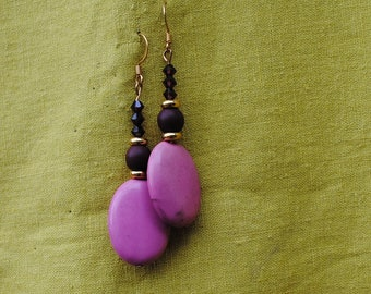 Pink and burgundy earrings