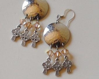 Crosses and topaz earrings