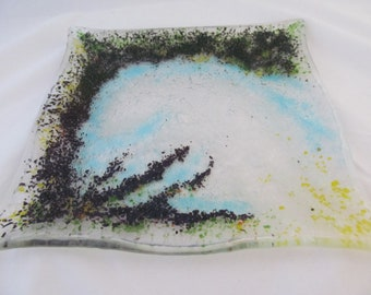 "Iridescent Full-Fused Glass Plate - 9.5"" x 9.5"" fused glass, slumped glass, glass art"