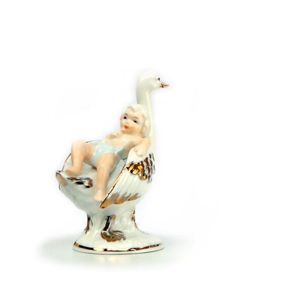 Baby Shower Gifts . Vintage Porcelain Figurine.  White Swan and Baby .