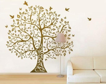 Vinyl Wall Decals Tree wall sticker home arts-Large Bodhi Tree with flying birds