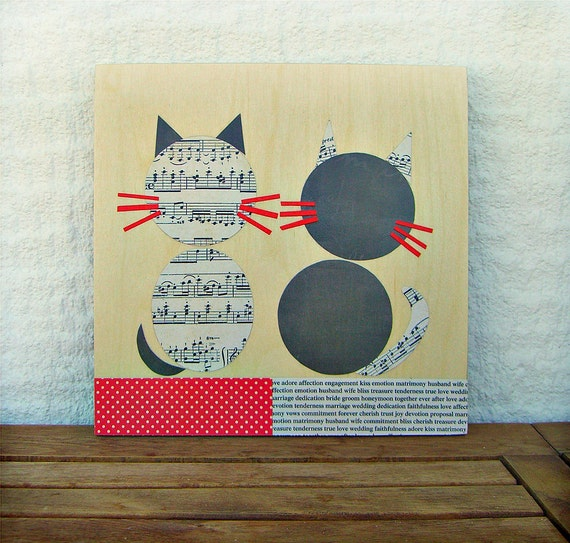 ON SALE-50% off, Cats collage on wood eco friendly,Girls Wall Art,Baby room decoration,handmade art for kids rooms,children wall decoration