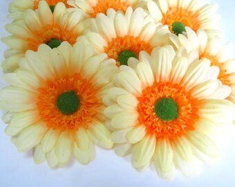 10X BIG Yellow Gerbera Daisy Heads - Artificial Silk Flowers - 3.5 inches - Wholesale Lot - for Wedding work, Make Hair clips