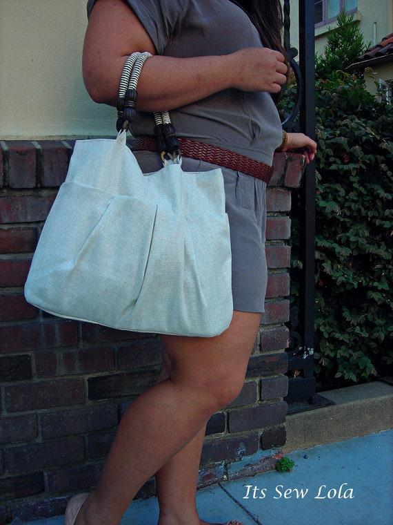SALE The Tawny - Pleated Medium Handbag - Luxe Linen - Houndstooth Lining - Wood Stripe Handle - Handmade