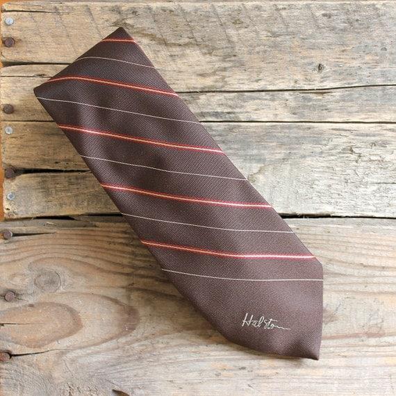 Vintage Men's Tie - Brown Stripe