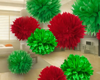 Tissue Paper Pom Poms Set of 9