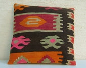"HANDWOVEN Traditional Turkish Kilim Pillow Cover 16""x16"",Tribal Pillow,Vintage Kilim Pillow,Kilim Throw Pillow,Free Shipping."
