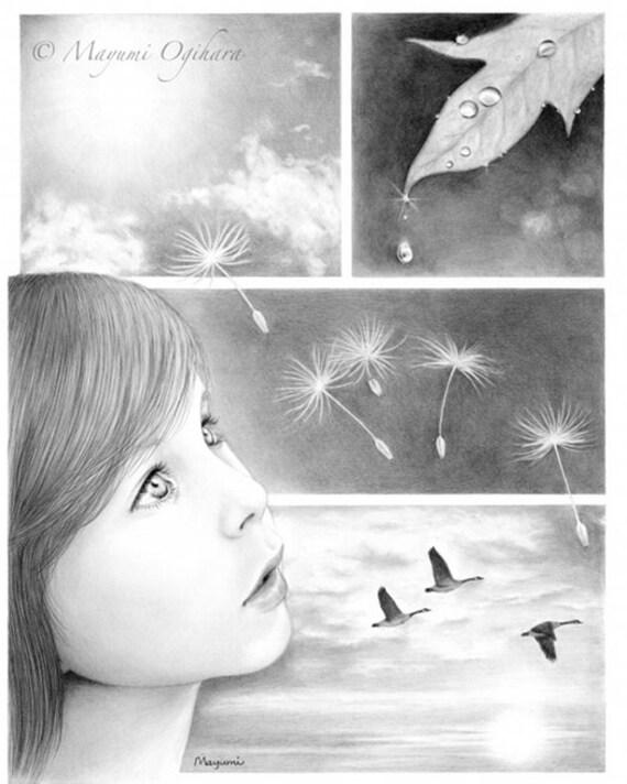 Through Innocent Eyes - pencil drawing, 8X10 open edition art print