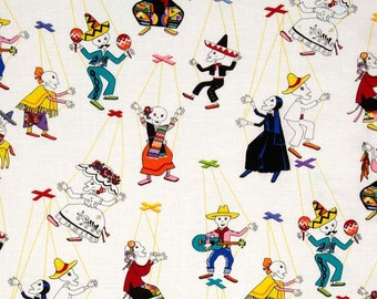 Folklorico Marionetas - Fabric By The Half Yard 18 inches x 44 inches - H