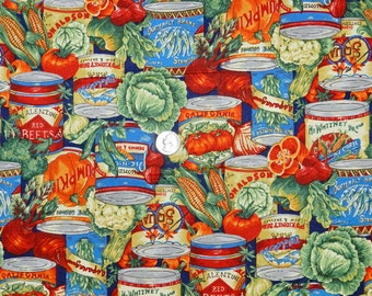 Canned Garden - Fabric by the Half Yard 18 inches x 44 inches